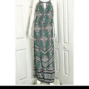 WHBM Blouson Geo Print Maxi Dress
